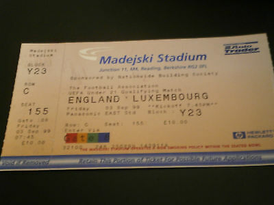 England v Luxembourg 3rd Sept 1999 Uefa Under 21 Qualifier Match Ticket