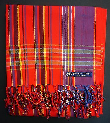 NEW Kikoy Kikoi Red Purple Africa Cotton Sarong Throw Scarf Kenya Swimwear • EUR 20,67