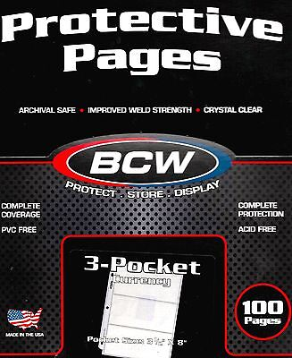 100 New 3 Pocket Pages Sheets for Large Dollar Bills Plus 300 Large Sleeves