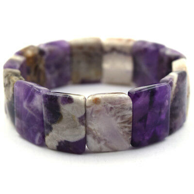 20mm natural amethyst stretch bracelet 8""
