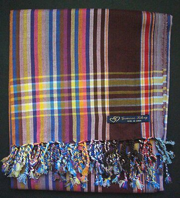 NEW Kikoy Kikoi Brown Multi Africa Cotton Sarong Throw Scarf Kenya Swimwear