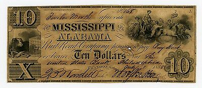 1838 $10 The Mississippi and Alabama Rail Road Co. - Brandon, MISSISSIPPI Note