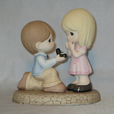 Will You Marry Me Precious Moments Proposal Ring Box Boy Kneeling Girl Pink NWOB