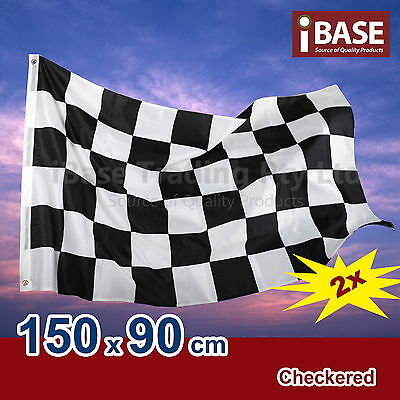 2x Checkered Black White Chequered Racing Car Flag Polyester 150x90cm 5x3ft F1