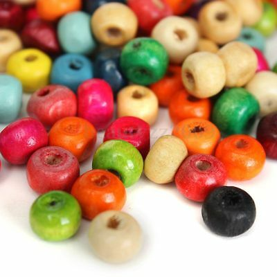 100Pcs 6mm Mixed Colors Wooden Round Beads For DIY Jewelry Findings Making Craft