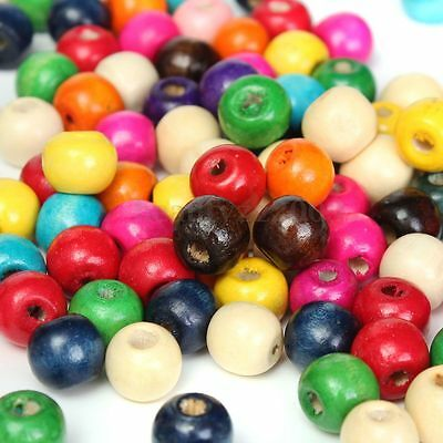 100Pcs 10mm Mixed Color Wooden Round Beads For DIY Jewelry Findings Making Craft
