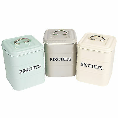 Square Enamel Retro Biscuit Tin Kitchen Storage Canister Barrel Cookie Vintage