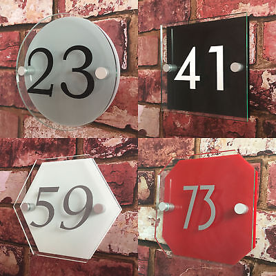 Modern House Sign Plaque Door Number Glass Effect Acrylic