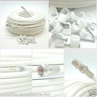 20m White Single RG6 Satellite Extension Coax Cable Lead 4 Sky Plus HD Freesat