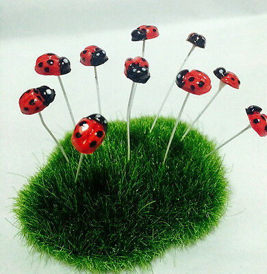40 Pcs Miniature Dollhouse Fairy Garden Accessories Tiny Red ladybug
