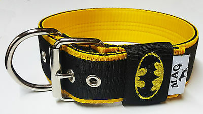 """5cm 2"""" Inches Strong Nylon Dog Collar  BATMAN Heavy Duty Embroidered MAG"""