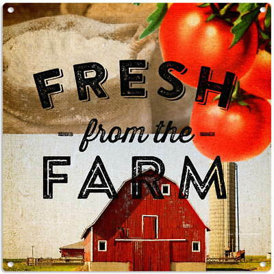 Fresh From The Farm Metal Sign Vintage Style Kitchen Decor 12 x 12