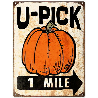 U-Pick Pumpkins Farm Stand Metal Sign Vintage Style Rustic Decor 12 x 16