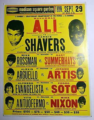 Muhammad Ali and Ernie Shavers Vintage Signed Boxing Poster