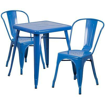 Blue Metal Restaurant Table Set With 2 Stack Chairs