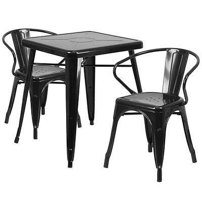 Black Metal Restaurant Table Set With 2 Arm Chairs