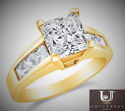 Princess Cut Solitaire14k Yellow Gold 2.00 CT Wedding Engagement Ring Band