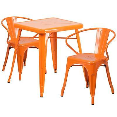 Orange Metal Restaurant Table Set With 2 Arm Chairs