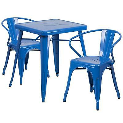 Blue Metal Restaurant Table Set With 2 Arm Chairs