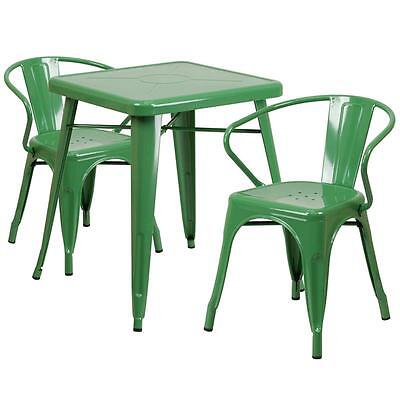 Green Metal Restaurant Table Set With 2 Arm Chairs