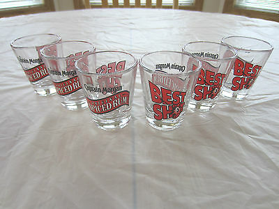 "Set of 6 Captain Morgan Original Spiced Rum ""Best Shot"" Shot Glasses"