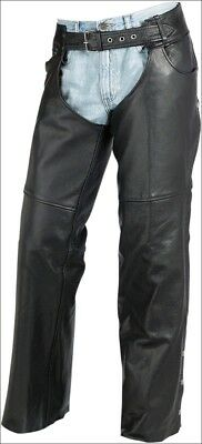 Z1R Premium Leather Mens Carbine Motorcycle Riding Chaps - MD