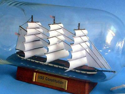 """11"""" Wooden U.S.S. Constitution Model Ship In A Glass Bottle Assembled"""