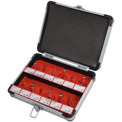 """12 Piece 1/4"""" Shank Router Bits Set in Aluminium Case - dovetail cove ogee ¼"""""""