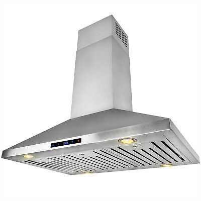 """36"""" Island Mount Stainless Steel Range Hood Touch Screen Display Kitchen Cooking"""