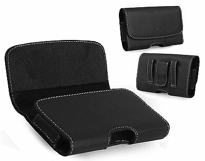 XL Size Leather Holster Carry Pouch Case for Motorola Droid Turbo 2 (Verizon)