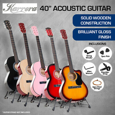 NEW 40in KARRERA ACOUSTIC CUTAWAY GUITAR WITH BONUS BAG STRINGS PICKS CARRY BAG