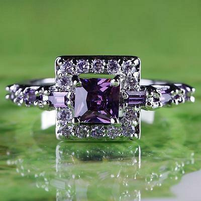 Square Cut Amethyst Or Peridot With Topaz 925 Sterling Silver 6,7,8,9,10