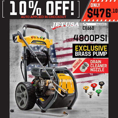 Jet-USA 8 HP 4800 PSI High Pressure Cleaner Washer Petrol Water Hose Gurney