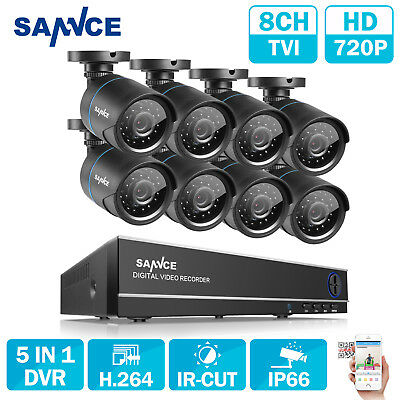SANNCE 8Channel 1080N CCTV DVR HDMI Outdoor 720P Video Security Camera System UK
