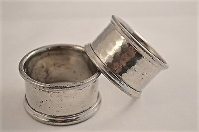 Vintage Pair of Silver Plated Hammered Napkin Rings Set
