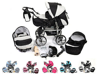 Baby Pram Buggy Pushchair Stroller Camel Reversible Handle Carrycot Travel