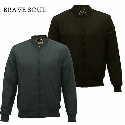 Mens Brave Soul 'Sanjay Padded' Lightweight Bomber Harrington Lined Jacket Coat