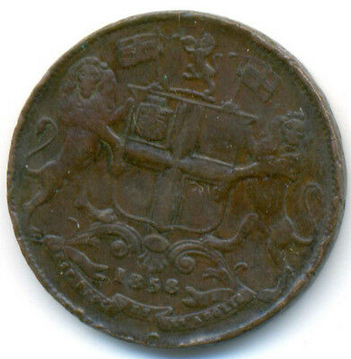 India British East India Company Copper One Quarter 1/4 Anna 1858 w VF