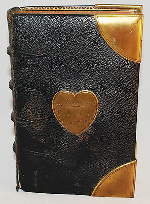 Small Antique Victorian Bible with Brass Corners Heart Shaped Inscription 1877