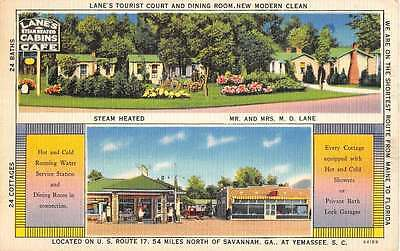 Yemassee South Carolina Lanes Tourist Court Linen Antique Postcard K12394