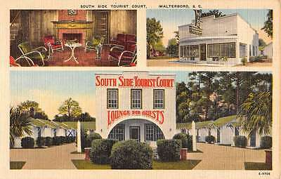 Walterboro South Carolina South Side Tourist Court Linen Antique Postcard K12396