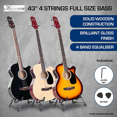 4 String Karrera Acoustic Bass Guitar Electric Pickup 5 Band Equalizer