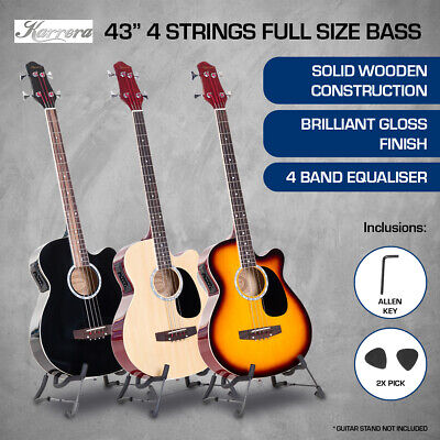 New 4 STRING KARRERA ACOUSTIC BASS GUITAR ELECTRIC PICKUP 4 BAND EQUALIZER