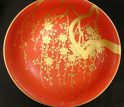 """9 7/8"""" D Japanese Meiji Period  Lacquered Wood Bowl"""