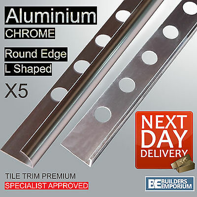 5x HEAVY DUTY TILE TRIM - L SHAPED or ROUND EDGE - ALUMINIUM CHROME 8,10 & 12mm