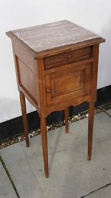 19th c French, Oak, marble top bed side, occasional cupboard, drawer VGC