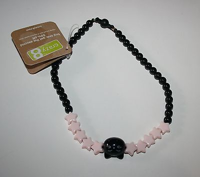 New Crazy 8's Adorable Black and Pink Pretty Kitty Cat Beaded Necklace NWT