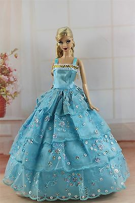 Blue Fashion Princess Dress Wedding Clothes/Gown For 11.5in.Doll S292