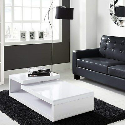 Modern White High Gloss Double Level Coffee Table