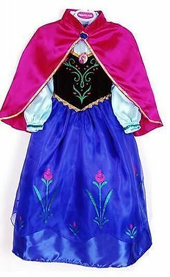 Frozen Anna Princess Dress And Cape Costume Girl Kids  Fancy Snow Queen 8 Years